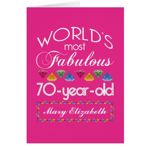 70th Birthday Most Fabulous Colorful Gems Pink Cards