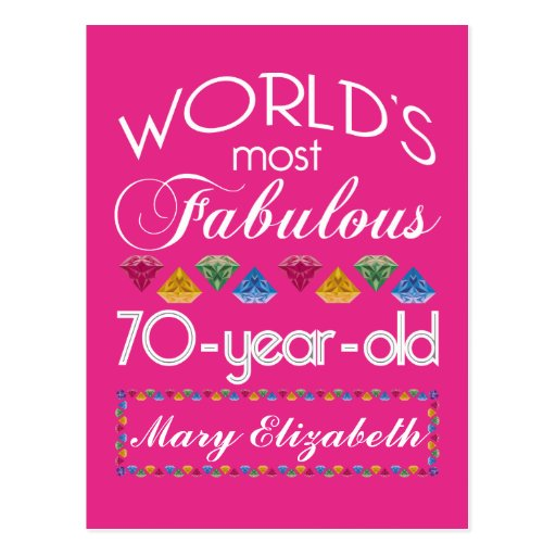 70th Birthday Most Fabulous Colorful Gems Pink Post Card