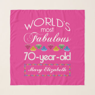 70th Birthday Most Fabulous Colorful Gems Pink Scarf