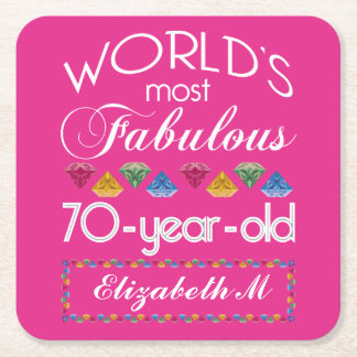 70th Birthday Most Fabulous Colorful Gems Pink Square Paper Coaster