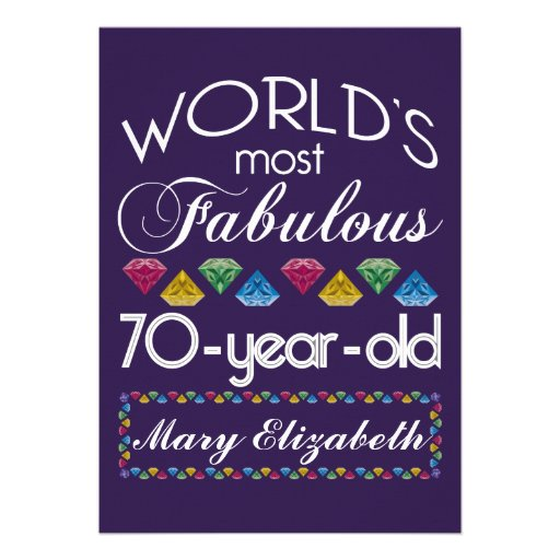 70th Birthday Most Fabulous Colorful Gems Purple Personalized Announcements