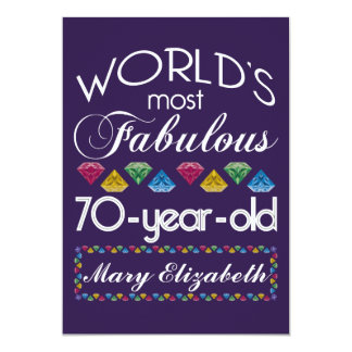 70th Birthday Most Fabulous Colorful Gems Purple 13 Cm X 18 Cm Invitation Card