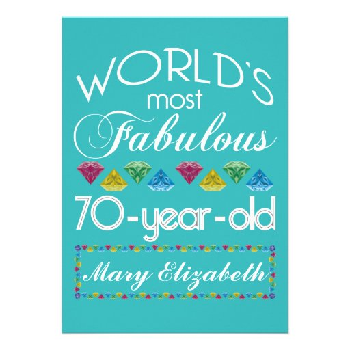 70th Birthday Most Fabulous Colorful Gems Turquois Cards