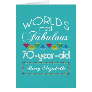 70th Birthday Most Fabulous Colourful Gems Card