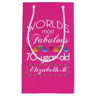 70th Birthday Most Fabulous Colourful Gems Pink Small Gift Bag