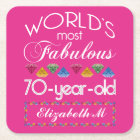 70th Birthday Most Fabulous Colourful Gems Pink Square Paper Coaster