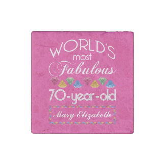70th Birthday Most Fabulous Colourful Gems Pink Stone Magnet