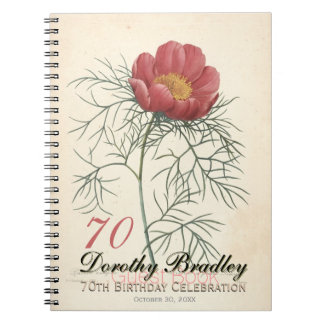 70th Birthday Party Botanical Peony Guest Book