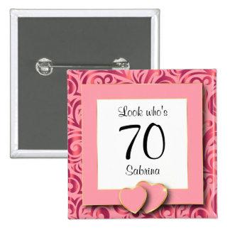 70th Birthday Party | DIY Text 15 Cm Square Badge