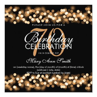 70th Birthday Party Faux Gold Hollywood Glam Card