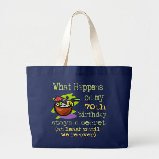 70th Birthday Party Gifts. What happens on my 70th Large Tote Bag