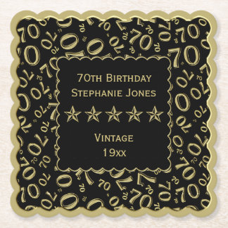 70th Birthday Party Gold/Black Pattern Theme Paper Coaster