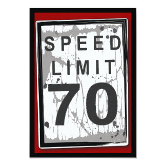 70th Birthday Party Grungy Speed Limit Sign 13 Cm X 18 Cm Invitation Card