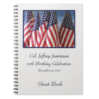 70th Birthday Party Guest Book, Flags Notebook