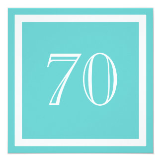 70th Birthday Party Invitation - Aqua