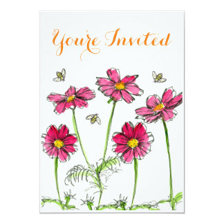 70th Birthday Party Invitation Pink Cosmos Flowers