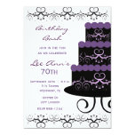 70th Birthday Party Invitations In Purple Swirl