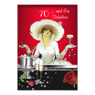 70th Birthday Party Retro Diva Art Deco Red Silver 9 Cm X 13 Cm Invitation Card