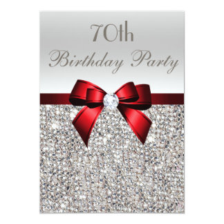 70th Birthday Party Silver Sequins Red Bow 13 Cm X 18 Cm Invitation Card
