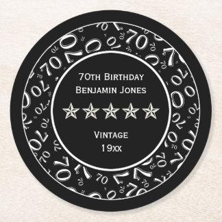 70th Birthday Party White/Black Round Pattern Round Paper Coaster
