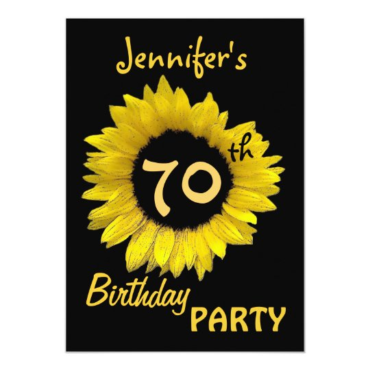 70th Birthday Party Yellow Sunflower Card
