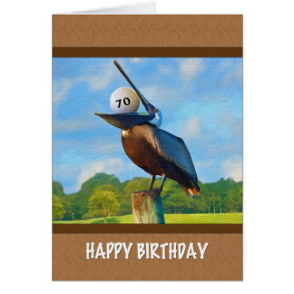 70th Birthday, Pelican with Golf Ball Card