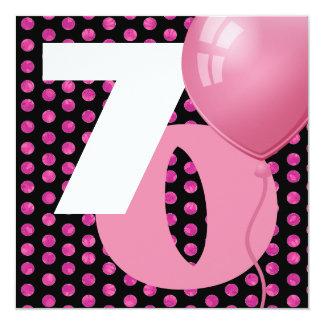 70th Birthday Polka Dots and Balloons A05 13 Cm X 13 Cm Square Invitation Card