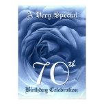 70th Birthday Soft Blue Rose Metallic Paper Personalized Invite