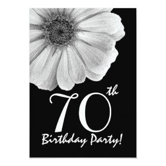 70th Birthday Template Black and White Daisy 13 Cm X 18 Cm Invitation Card