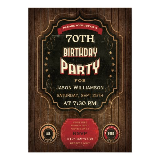 70th Birthday Vintage Chalkboard & Wood Personalized Invite