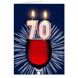 70th Birthday with wine and candles Card