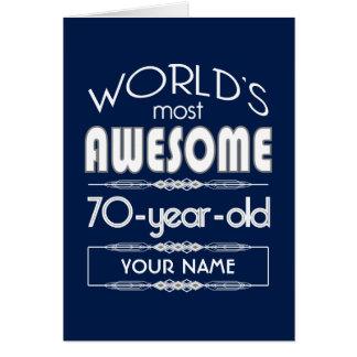 70th Birthday Worlds Best Fabulous Dark Blue Cards