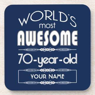 70th Birthday Worlds Best Fabulous Dark Blue Drink Coaster