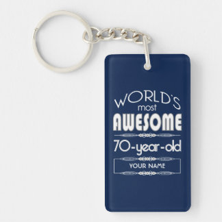 70th Birthday Worlds Best Fabulous Dark Blue Key Ring