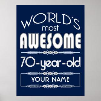 70th Birthday Worlds Best Fabulous Dark Blue Print