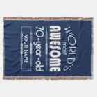70th Birthday Worlds Best Fabulous Dark Blue Throw Blanket