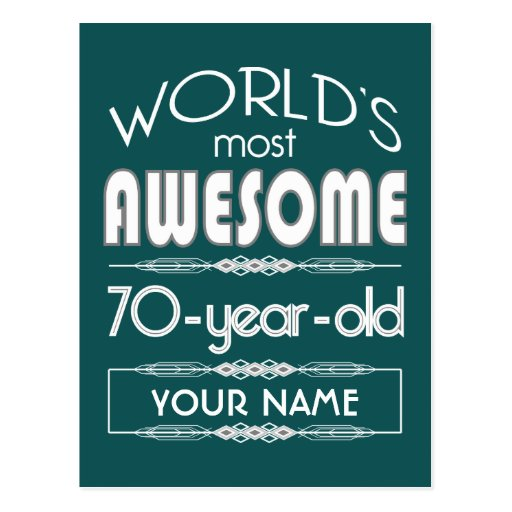 70th Birthday Worlds Best Fabulous Dark Green Post Cards