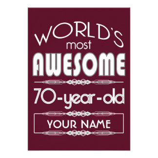 70th Birthday Worlds Best Fabulous Dark Red Custom Invitations