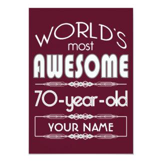 "70th Birthday Worlds Best Fabulous Dark Red 5"" X 7"" Invitation Card"