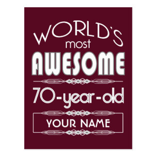 70th Birthday Worlds Best Fabulous Dark Red Postcards