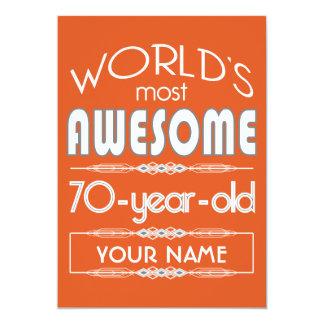 "70th Birthday Worlds Best Fabulous Flame Orange 5"" X 7"" Invitation Card"