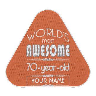70th Birthday Worlds Best Fabulous Flame Orange Speaker