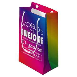 70th Birthday Worlds Best Fabulous Rainbow Small Gift Bag