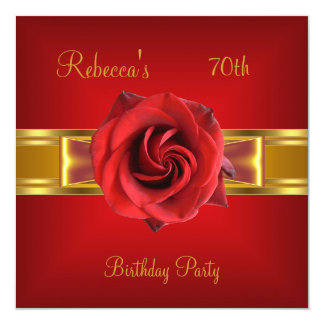 70th Colourful Royal Red Flower Yellow Gold Bow Card