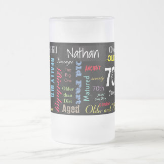 70th Happy Birthday   Milestone Frosted Glass Beer Mug