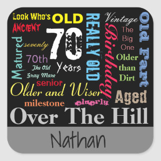 70th Happy Birthday | Milestone - Subway Art Square Sticker