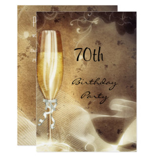 70th Sepia Champagne Glass Card