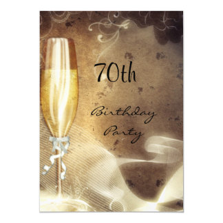 70th Sepia Champagne Glass Card