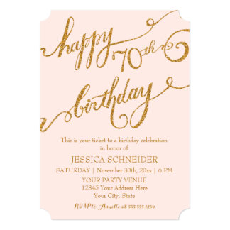 70th, Seventieth Birthday Party Ticket Celebration 13 Cm X 18 Cm Invitation Card