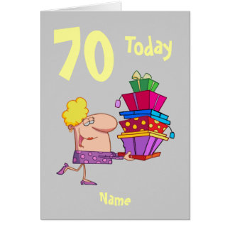 70th seventy today birthday cartoon  personalized card